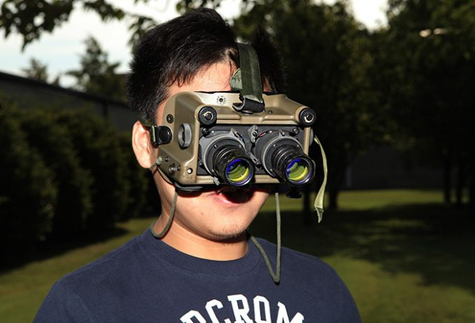 Boy using donated nv goggles