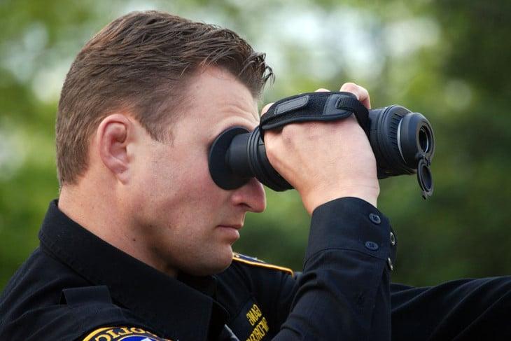 Cop using monocular