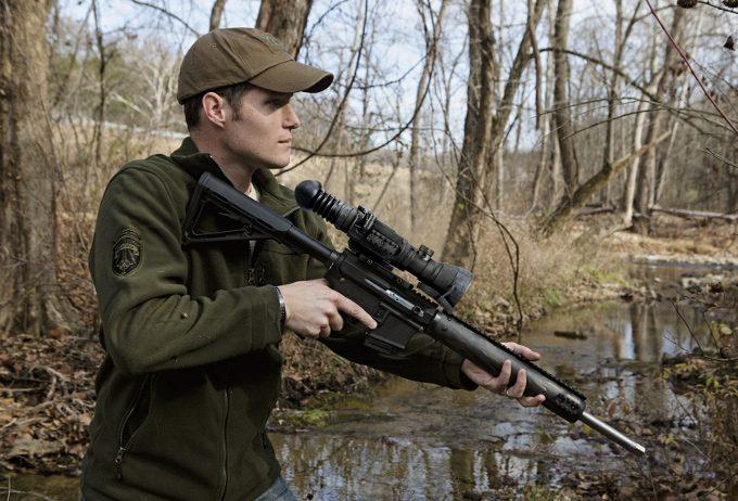 Hunter using NV sight