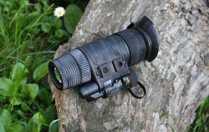 Night vision scope on wood