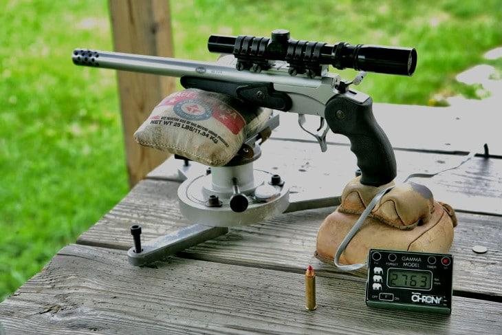 Scope mounted on handgun