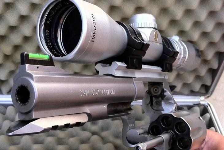 Scoped gun on guncase