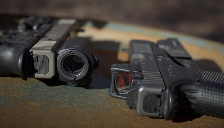Red dot sights on handguns
