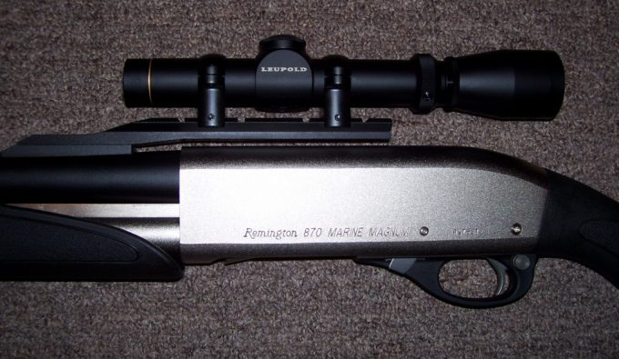 Scope mounted on remington 870