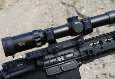 Scope mounted on rifle