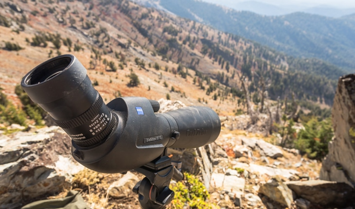 Spotting scope on mountain top