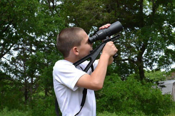 Bird watching with spotting scope