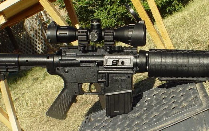 M4 rifle with bugbuster scope
