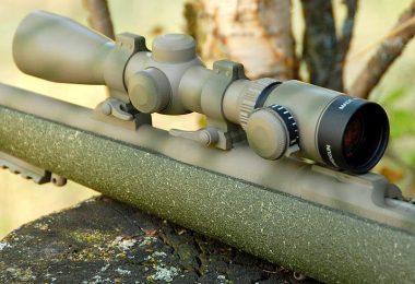 Riflescope mounted on custom rifle