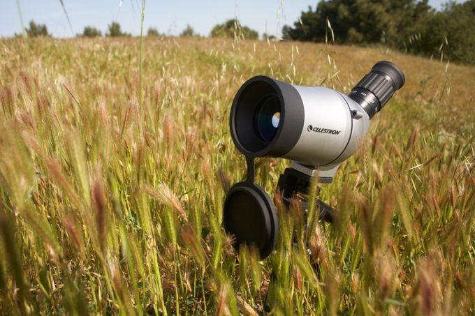 Spotting scope in grassfield