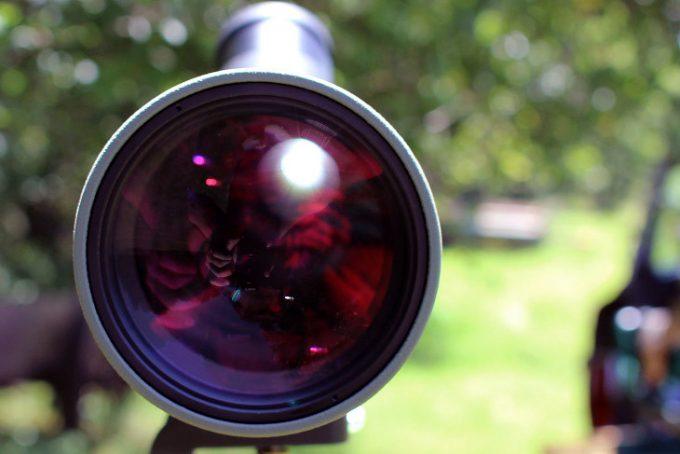 Spotting scope lens closeup