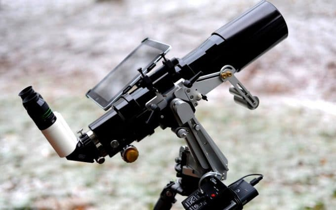 Tablet mounted on telescope