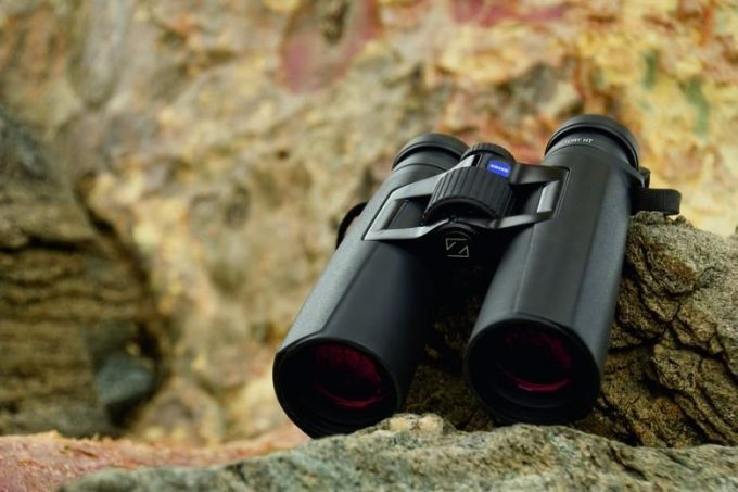 Zeiss optics binocular on rock