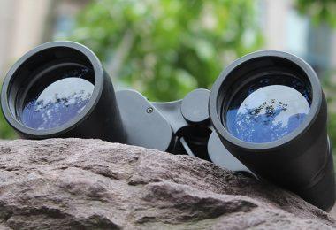 Binoculars left on a rock