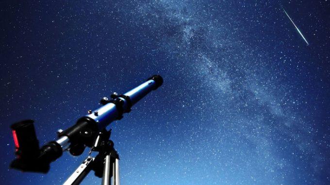 Telescope under a shooting star