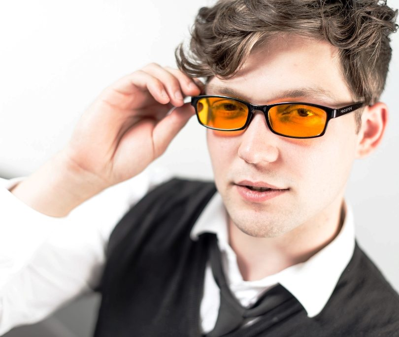 Man is Wearing Yellow Tinted Glasses