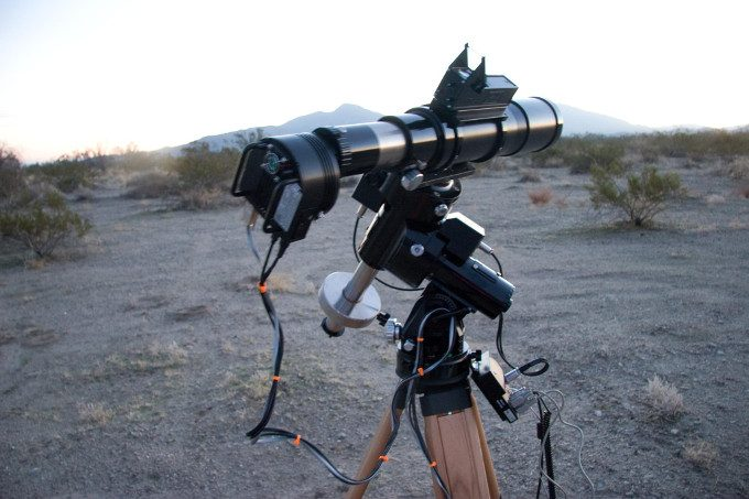 Astrophotography cam setup on tripod