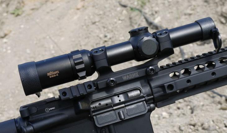 Scope mounted on rifle