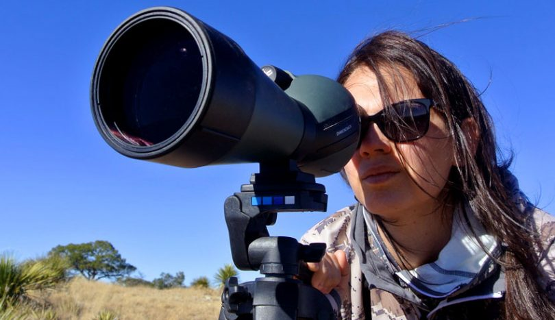Student using diamondback spotting scope