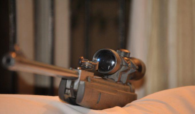 pellet gun scope in room