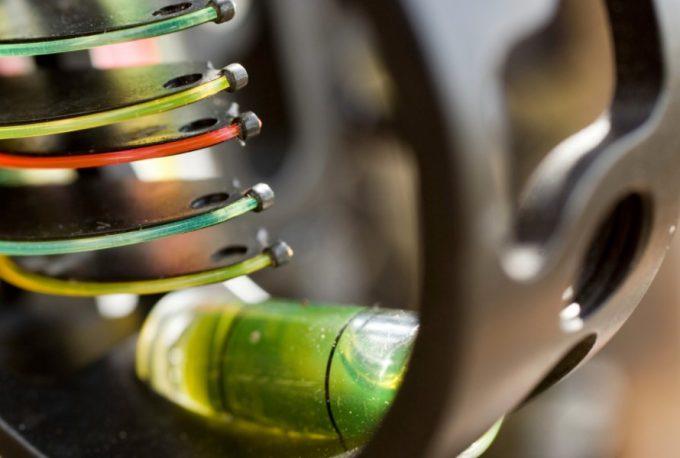 bow sight pins closeup