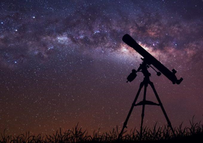 telescope and galaxy sky