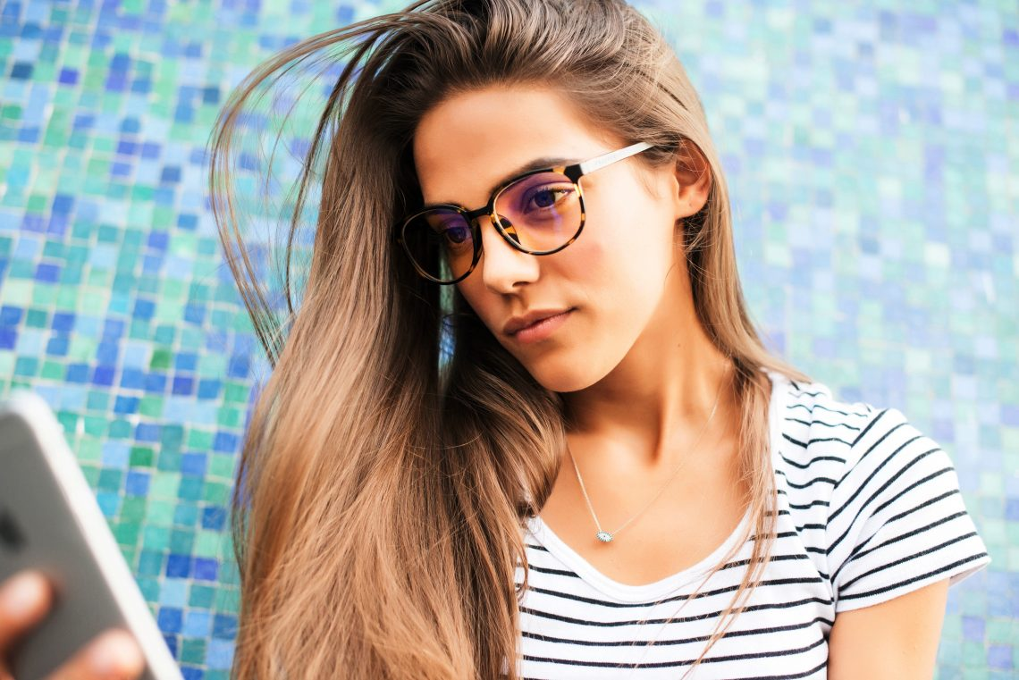 Girl is Using Anti Glare Glasses
